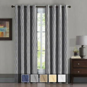( Set Of 2) Victoria 100% Blackout Jacquard Curtains 108 Inches Wide Panels