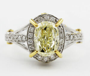 5.50 ctw Fancy Yellow Oval Shape Diamond Vintage Design Engagement Ring GIA C...