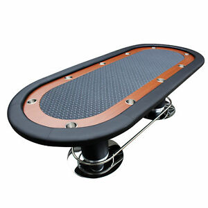 IDS Poker Table 10 Players Racetrack Cup Holders Black Speed Cloth Pedestal Leg
