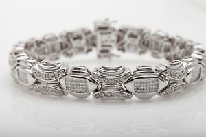 Designer $25000 10ct Diamond 14k White Gold Mens or Ladies Bracelet 60g 8.5
