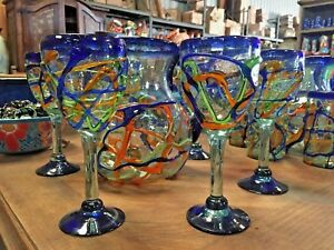 MEXICAN GLASSWARE -MULTI SWIRL PITCHER & 6 GLASSES SET  ***FREE FREIGHT***