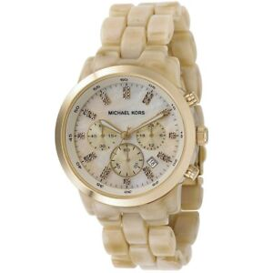 NIB - Michael Kors MK5217 Women's Gold Beige Round Bracelet Watch