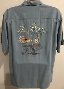 TOMMY BAHAMA Blue Silk Fly Fishing Legendary Lures Bait Embroidered Men Shirt L