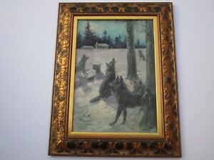 PAINTING ATTRIBUTED TO JOSEPH HENRY SHARP SIGNED WOLF WOLVES NIGHT WINTER MOON