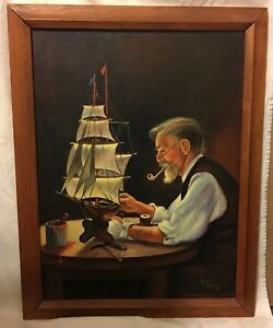 Ann Collins Original Oil on Canvas Painting Portrait of Man with Sailboat