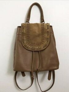 Lucky Brand Womens Brown Tan Leather Suede Backpack Book Bag Purse