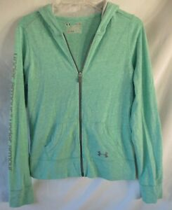 Under Armour Loose Heatgear Mint Green Zip Hoodie Youth Girls Size   Lg Large