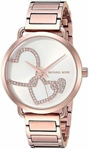 NWT Michael Kors MK3825 Portia Rose Gold-Tone Bracelet Women's Watch $225