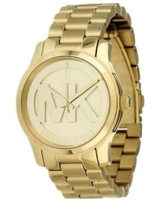 NWT Authentic Michael Kors Women 38mm Case Gold Logo Bracelet Watch MK5786 $250