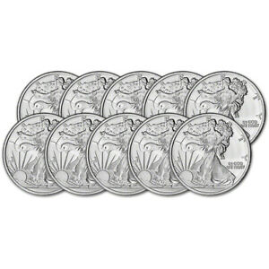 TEN (10) 1 oz. Highland Mint Silver Round Walking Liberty Design .999 Fine $215.43