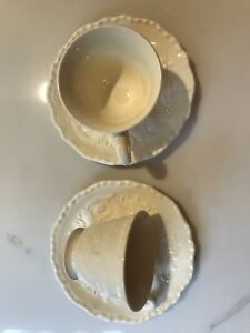 Footed Demitasse Cup amp; Saucer Set Adam Antique by STEUBENVILLE set of 2 $11.00