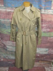 Burberry Vtg Womens Tan Long Belt Trench Coat Sz 12 P Nova Check Lining