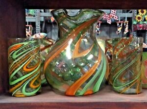 MEXICAN GLASSWARE - CITRUS SWIRL PITCHER & 6 GLASSES (12 oz)  ***FREE FREIGHT***