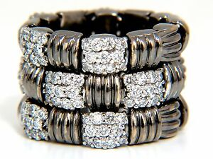 2.87CT Hinged Flex Grill Weave Cross Hatch Deco Diamonds Ring 18KT +