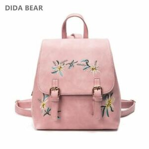 Brand Women Leather Backpacks Female School bags for Girls Rucksack Small Floral