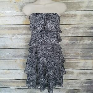 BCBG Max Azria Size 6 Sheath Dress Ginger Ruffle Tiered Gray Snakeskin Print