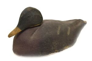 Vintage Antique Wood Head- Moveable Duck Decoy Brown Green