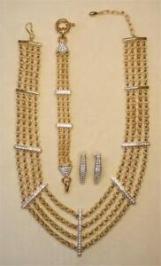 ERWIN PEARL GOLD EP CRY RHINESTONE COLLAR NECKLACE BRACELET & EARRING SET NWOT