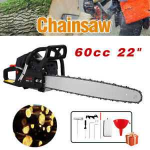 52cc 22quot; Bar Gas Powered Chain Saw 2 Cycle Tree Chainsaw Wood Cutting CDI Cutter $97.99