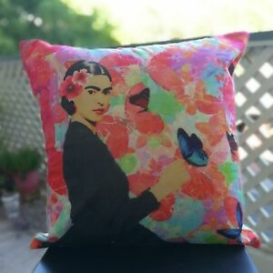 Artista Mexican Frida with Butterflies Pillow Case Free Same Day USPS Shipping
