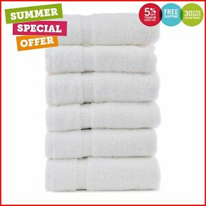 New Luxury Hotel & Spa Towel Turkish Cotton (White Hand Towel - Set of 6)