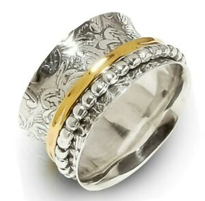925 Sterling Silver Spinner Ring Wide Band Meditation Statement Jewelry GS93