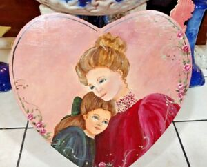 Collectable Victorian Oil Hand Painted Heart Shape Box Pink Lilic Cabbage Rose