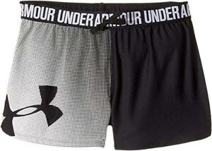 Under Armour 2622 Girls Black Graphic Play Up Shorts Size Youth Medium