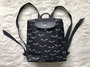 Longchamp Limited Edition Angel Horses Navy Blue Backpack Bag 1699 Model Auth