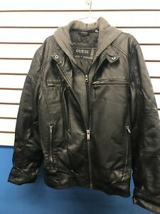 Guess Moto Faux Leather Pleather Jacket W Removable Hoodie Men's Medium