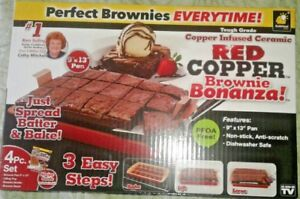 Red Copper Brownie Bonanza Nonstick Bake Pan Set As Seen On TV + Recipe Booklet!