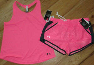 Under Armour loose fit hot pink punk tank top & shorts set NWT girls' XL YXL