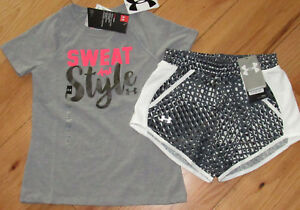 Under Armour Sweat And Style shirt & black patterned shorts set NWT girls' S YSM