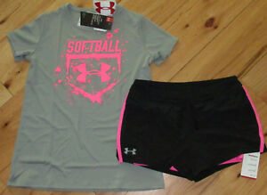 Under Armour softball top & black hot pink shorts NWT girls' L YLG double layer