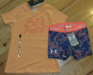 Under Armour wordmark peach logo top & patterned shorts set NWT girls' XS YXS