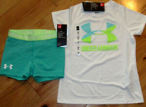 Under Armour white logo top & green bike shorts NWT girls L YLG $27.89