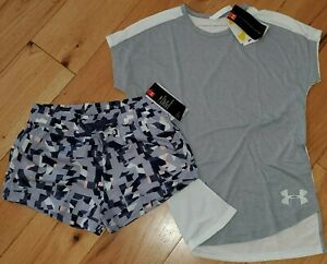 Under Armour Threadborne gray white top & patterned shorts NWT girls' L YLG $27.89