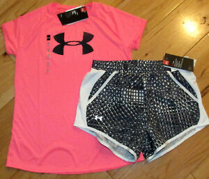 Under Armour logo top & patterned shorts set NWT girls' L YLG hot pink black
