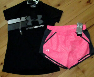 Under Armour black logo top & pink patterned shorts NWT girls' L YLG large