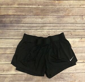 Womens NIKE Dri Fit Mesh Lined Shorts Size M Athletic Running Solid All BLACK