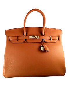 35 cm Birkin Genuine Leather St. Germain Top Handle Handbag Tan Designer Purse