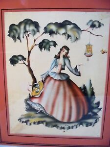 Vintage Victorian Painting with Woman in Pink Dress $34.95
