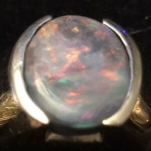 Natural Lightning Ridge Black Opal Ring 14k Rose Gold Size 10.5