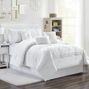 Grace 7 Piece White Floral Chenille Embroidered Pleated Striped Comforter Set