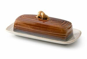 Roscher Ceramic Butter Dish w/Handle (Midnight) Cover and Plate 2-Piece Combo...