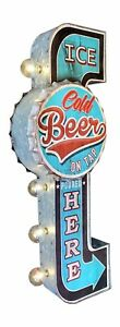 ICE COLD BEER ON TAP Double Sided Sign W/ LED Lights, Bottle Cap