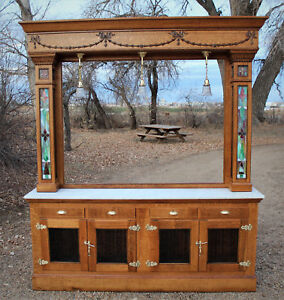 Antique Back Bar Quarter Sawn Oak With Leaded Stained Glass Panels