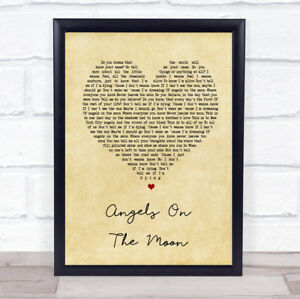 Angels On The Moon Vintage Heart Song Lyric Quote Print