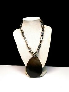 Dyed Black Abalone Shell Pendant Statement Necklace