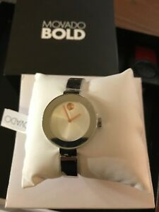 Movado Bold SWISS Stainless Steel Bangle Bracelet Ladies Watch 3600194